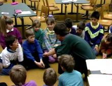 Lehrer übt Farben